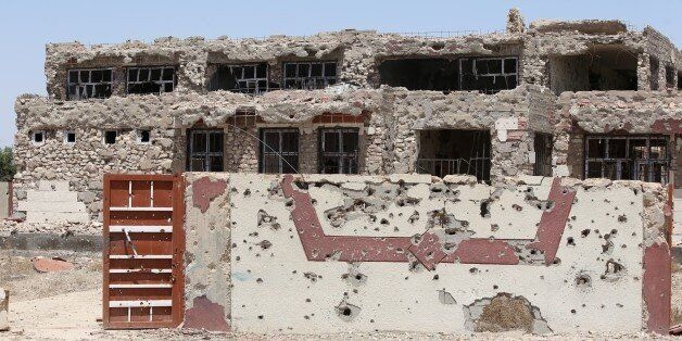 A bullet riddled school which was used as a base for Islamic State (IS) group fighters is seen in the Garma district of Anbar