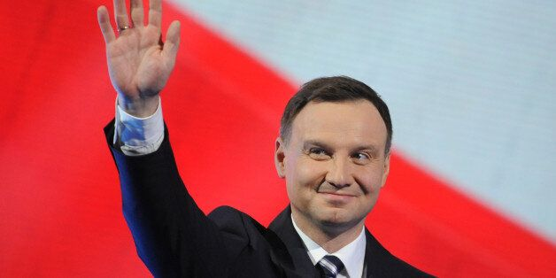 Candidate of Poland's main conservative opposition party Law and Justice in the May presidential elections, Andrzej Duda, gre