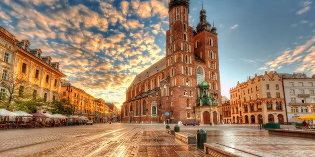 St. Mary's Basilica on the Main Market Square in Kraków is one of the town's famous landmarks. I already showed you the