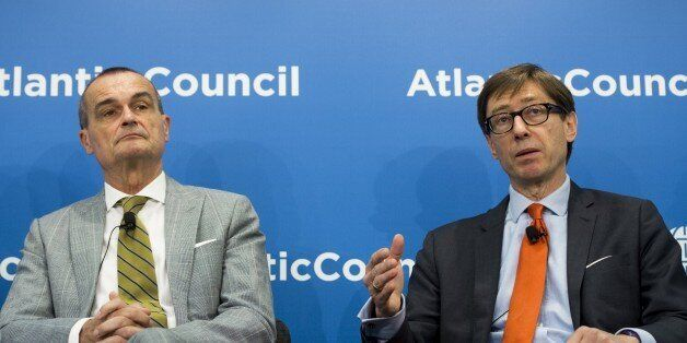 German Ambassador to the US, Peter Wittig (R) speaks alongside French Ambassador to the US, Gerard Araud about the Iranian nu