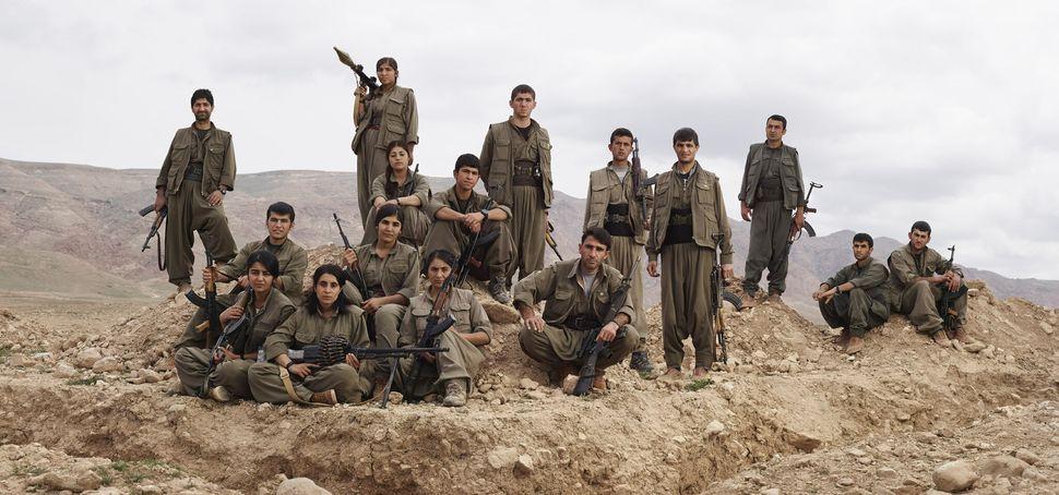 PKK Guerrillas Pose Near Makhmour Trench Position, Makhmour, Iraq.
