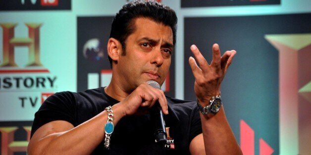 In a picture taken on February 24, 2012, Indian Bollywood actor Salman Khan speaks during a press conference of the 'HISTOR