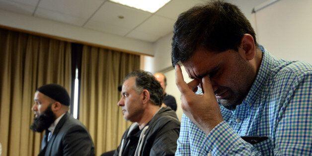 BRADFORD, ENGLAND - JUNE 16:  Mohammed Shoaib (R) husband of Khadiji Bibi Dawwood and Akhtar Iqbal husband of Surgra Dawood a