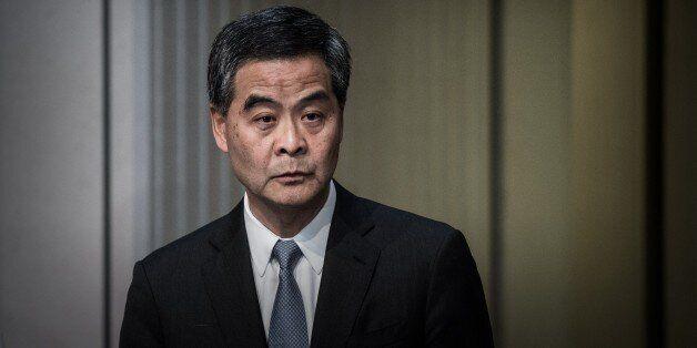 Hong Kong Chief Executive Leung Chun-ying addresses a press conference in Hong Kong on June 18, 2015.  Hong Kong lawmakers re