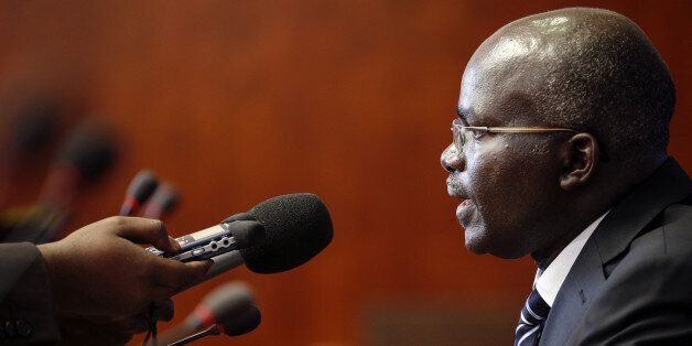 Burundi Second Vice-President Gervais Rufyikiri answers a question during a press conference on October 29, 2012, in Geneva.