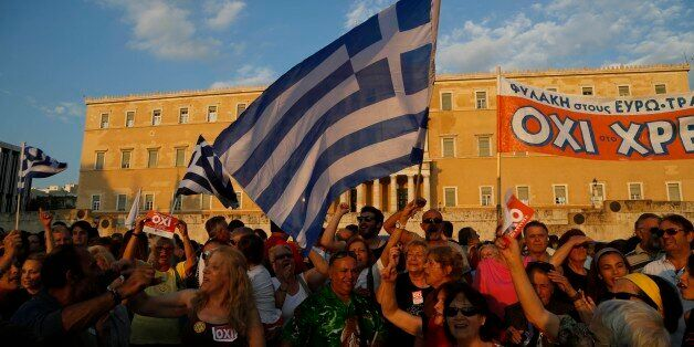 Supporters of a NO vote in the upcoming referendum, gather during a rally at Syntagma square in Athens Monday, June 29, 2015.