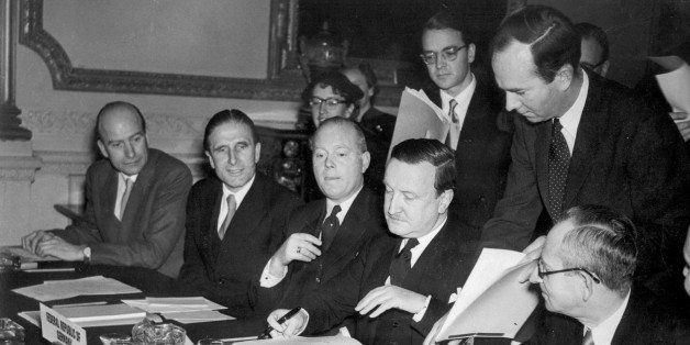 German Debts Agreement signed in London. The signing of the Agreement on German External Depts and of a number of related Agr