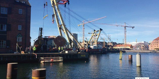 The newest bridge for bikes and pedestrians on Copenhagen harbour - one of seven - being put into place today.