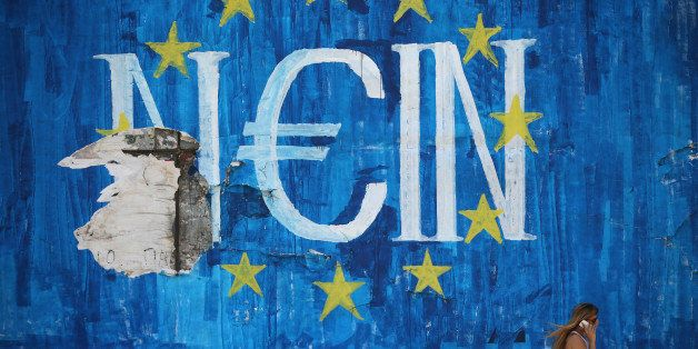 ATHENS, GREECE - JULY 08:  The German word 'Nein' which means 'No' sits on graffiti art displaying the European Union (EU) fl
