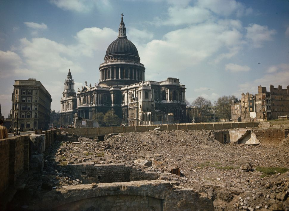 View of St Paul's Cathedral and the bomb damaged areas surrounding it in London.