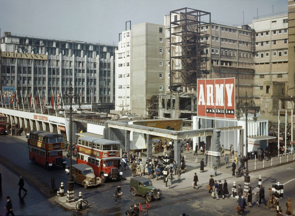 The bombed site of John Lewis, Oxford Street, London, which was used for the Army Exhibition.