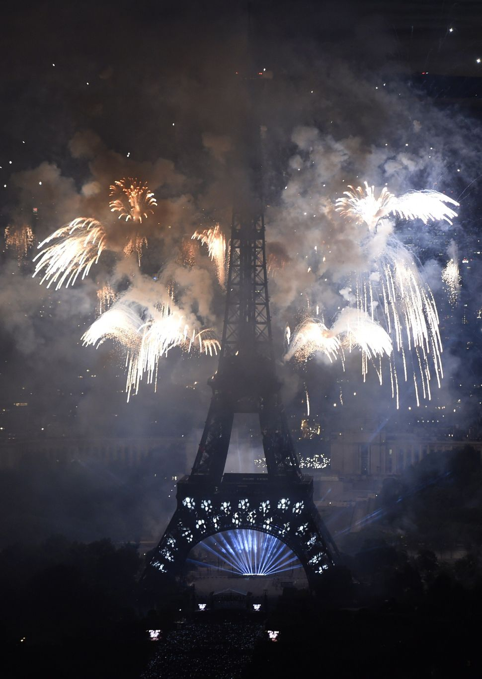 Fireworks light skies above the Eiffel Tower  (DOMINIQUE FAGET/AFP/Getty Images)