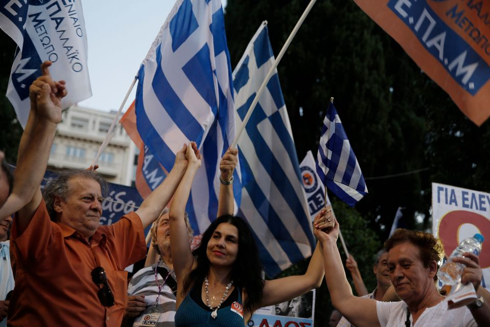 Supporters of the No vote dance at Syntagma square in Athens, Sunday, July 5, 2015.