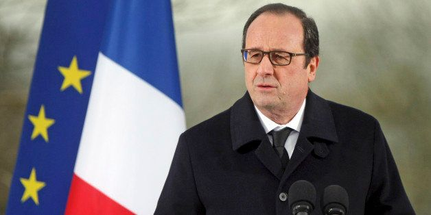 French President Francois Hollande delivers his speech during a ceremony at the Sarre-Union Jewish cemetery, eastern France,