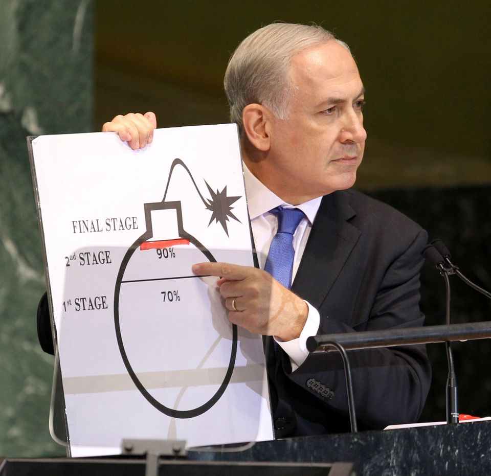 Prime Minister Benjamin Netanyahu of Israel shows an illustration as he describes his concerns over Iran's nuclear ambitions