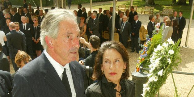 DREUX, FRANCE - JULY 11:  Prince Michel of Greece arrives with his wife for the funeral of the Countess of Paris July 11, 200