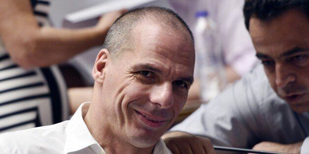 Former Greek  Finance Minister  Yianis Varoufakis attends his party's parliamentary group meeting at the Greek parliament in