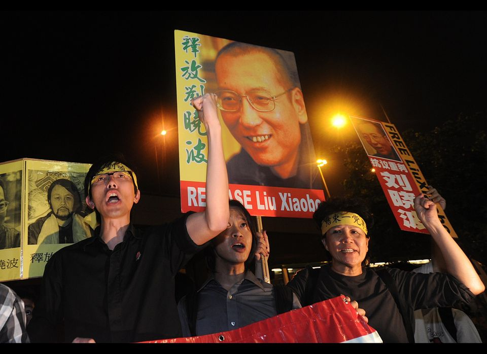 "Jailed Chinese dissident Liu Xiaobo was awarded the 2010 prize for ""his long and non-violent struggle for fundamental human r"