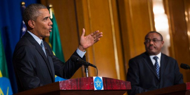 President Barack Obama speaks during a joint news conference with Ethiopian Prime Minister Hailemariam Desalegn, , on Monday,