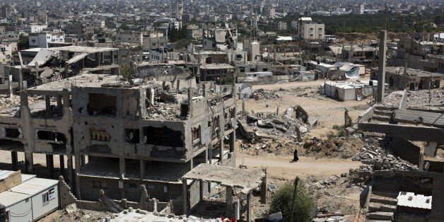 A general view of the al-Shejaeiya neighbourhood, east of Gaza City, that was destroyed during the 50-day war between Israel