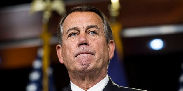 UNITED STATES - JUNE 25: Speaker of the House John Boehner, R-Ohio, holds his weekly on-camera news conference in the Capitol