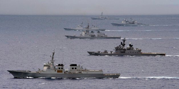PACIFIC OCEAN (Aug. 7, 2012) A formation of ships from the U.S. Navy, U.S. Coast Guard, Japan Maritime Self-Defense Force, an
