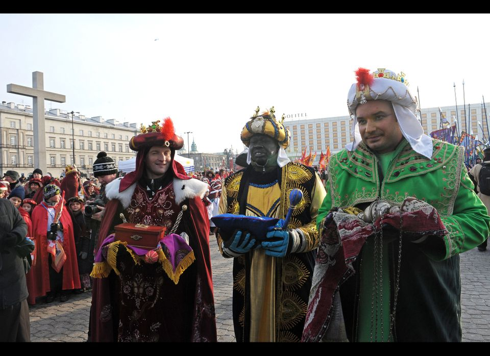 Volunteers dressed as Three Magi bring their gifts during the Epiphany parade through Warsaw. Poland is celebrating the Epiph