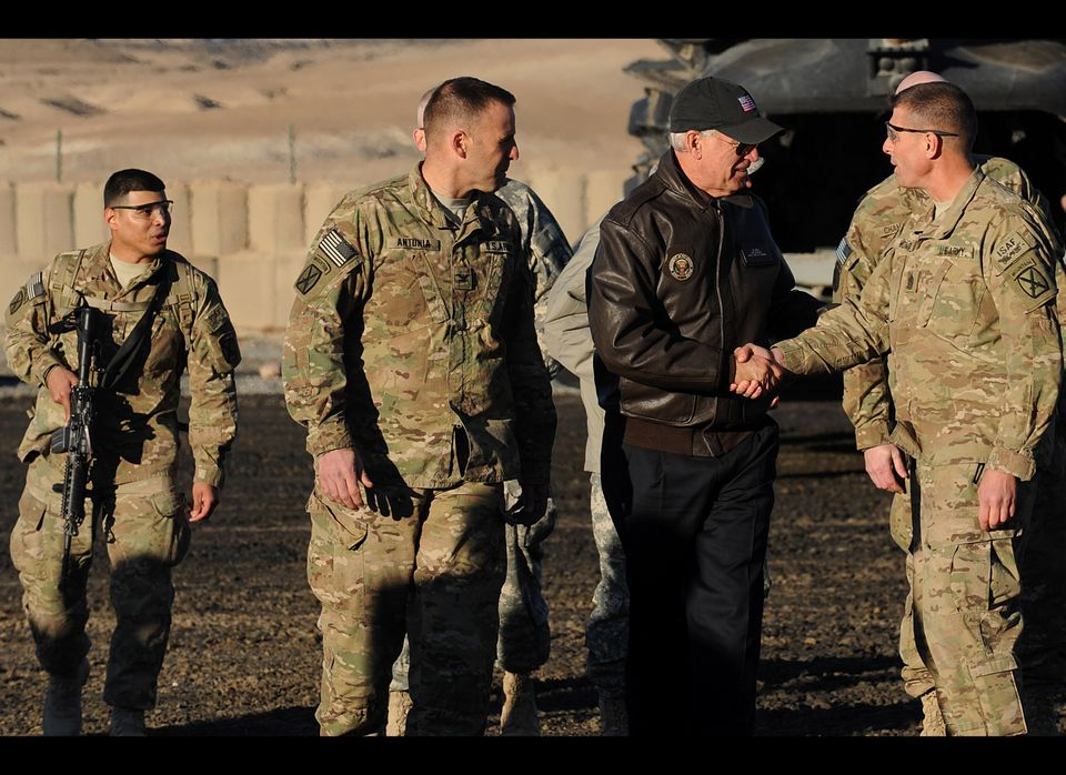US Vice President Joe Biden shakes hands with a US soldier at a US base in Maidan Shar Wardak province.