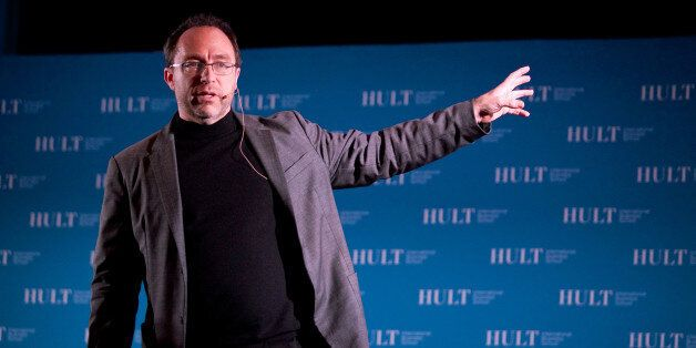 In this photograph taken by AP Images for Hult International Business School, Jimmy Wales, founder of Wikipedia, speaks at Hu