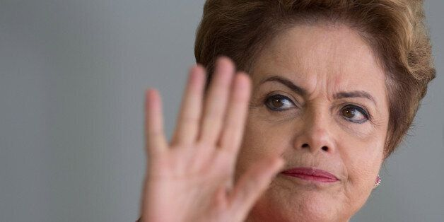 FILE - In this July 17, 2015 file photo, Brazil's President Dilma Rousseff waves to the press as she arrives to greet leaders