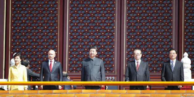 BEIJING, Sept. 3, 2015 -- Chinese President Xi Jinping, center, former presidents Jiang Zemin, second right, and Hu Jintao, f
