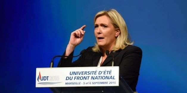 French far-right Front National party's president Marine Le Pen delivers a speach during the summer far-right National Front
