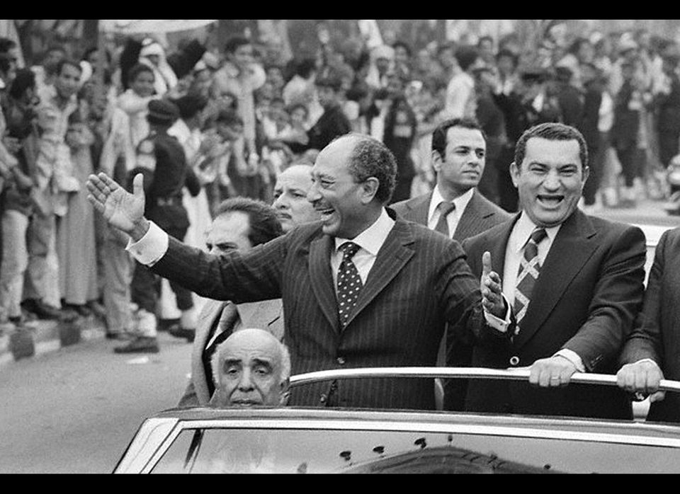 Mubarak came into power after Egyptian President Anwar Sadat (left) was assassinated in 1981, and the former has come under c