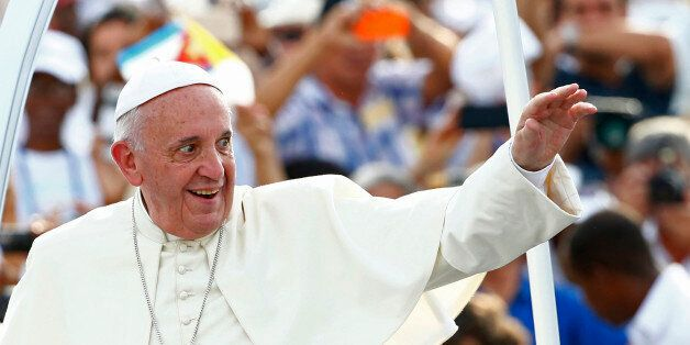 Pope Francis arrives to celebrate Mass in Revolution Square in Havana, Cuba, Sunday, Sept. 20, 2015. Pope Francis opens his f