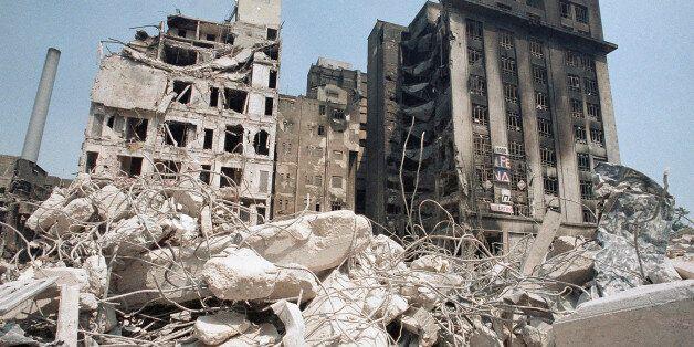Heavily damaged buildings in Mexico City, Dec. 1, 1985. (AP Photo/David Tenenbaum)
