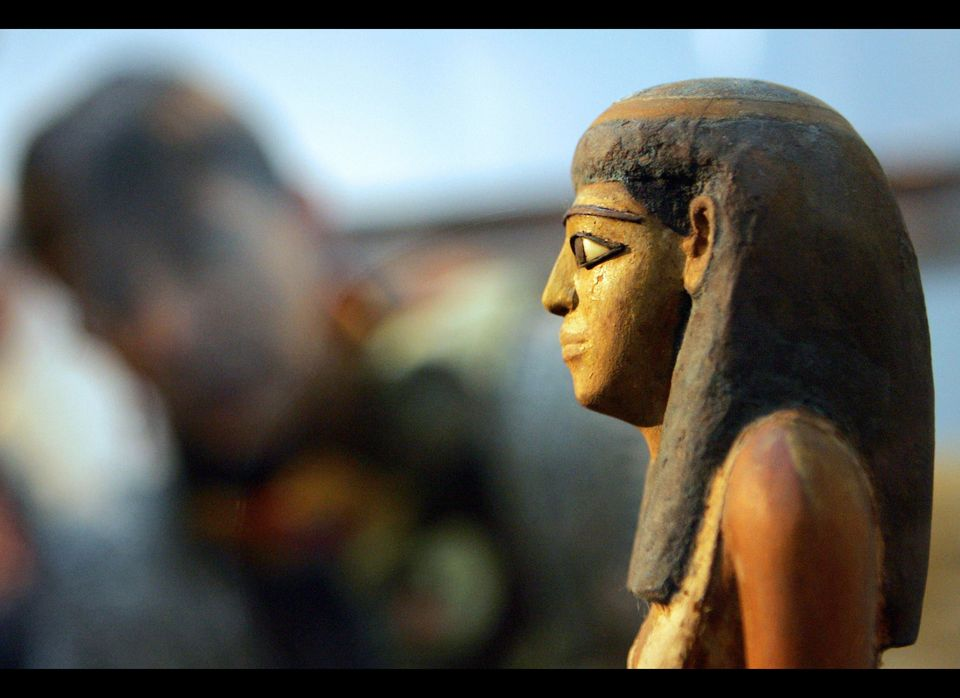 A small Pharonic statue, displayed in a recent exhibit celebrating American contributions to Egyptian Archaeology.
