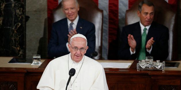 Pope Francis addresses a joint meeting of Congress on Capitol Hill in Washington, Thursday, Sept. 24, 2015, making history as