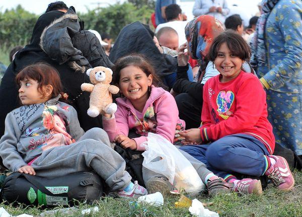 Migrant children near the Serbian-Croatian border village of Bapska, close to the eastern Croatian town of Ilok, on Sept. 23.