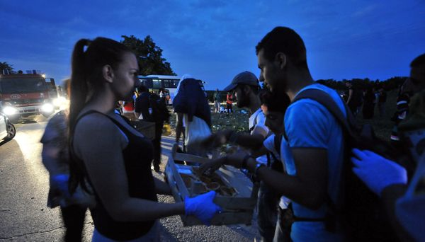 A helper distributes food to migrants and refugees, in the Serbian-Croatian border village of Bapska, who wait for a bus to t