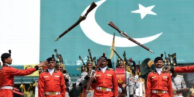 Pakistani Rangers march during celebrations to mark the countrys Defence Day in Lahore on September 6, 2015. Pakistan on Sept
