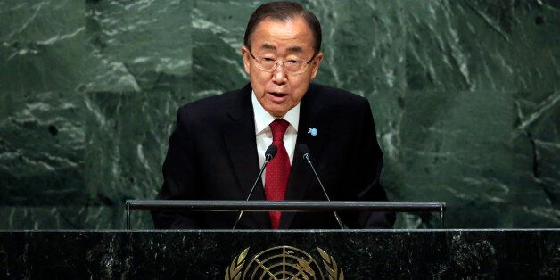 U.N. Secretary General Ban Ki-moon addresses the 70th session of the United Nations General Assembly, Monday, Sept. 28, 2015.
