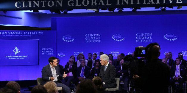 NEW YORK, NY - SEPTEMBER 27:  Prime Minister of Greece Alexis Tspiras and Presiden Bill Clinton speak during the 2015 Clinton