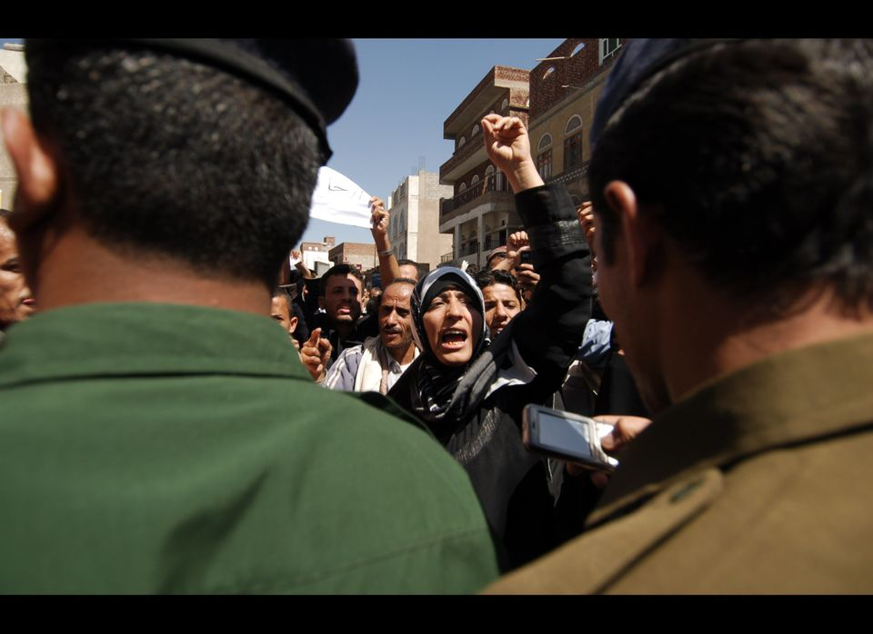 Yemeni anti-government protesters shout slogans calling for the ouster of President Ali Abdullah Saleh. The protests are part
