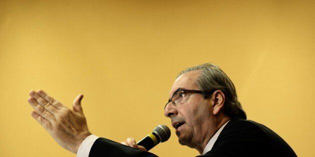 The president of the Chamber of Deputies, Eduardo Cunha, from the Brazilian Democratic Movement Party (PMDB) speaks during a