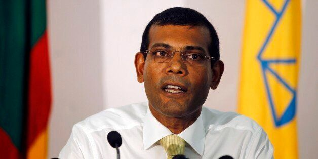 FILE- In this Nov. 10, 2013 file photo, former Maldives President and the then presidential candidate, Mohamed Nasheed, speak