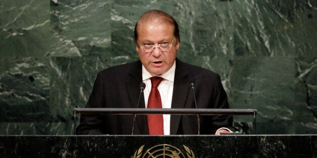 Pakistan's Prime Minister Muhammad Nawaz Sharif addresses the 70th session of the United Nations General Assembly, at U.N. He