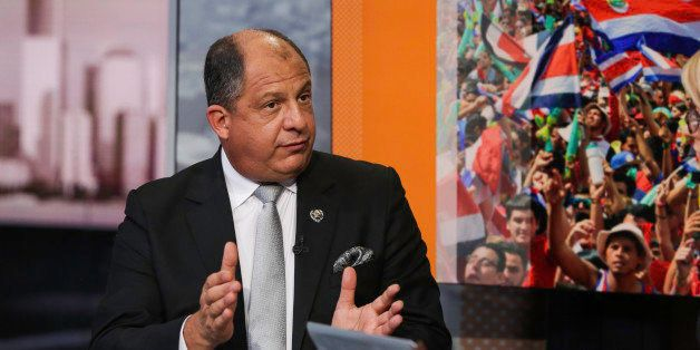 Luis Guillermo Solis, Costa Rica's president, speaks during a Bloomberg Television interview in New York, U.S., on Wednesday,