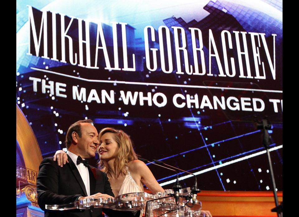 Kevin Spacey and Sharon Stone introduce a gala performance for former Soviet leader Mikhail Gorbachev a celebration of his 80