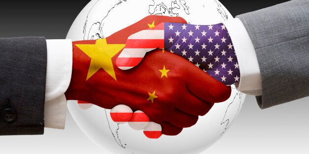 China and United States shaking hands