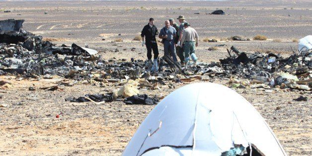 SUEZ, EGYPT - NOVEMBER 01: Russian officials inspect the crash site of Russian Airliner in Suez, Egypt on November 01, 2015.